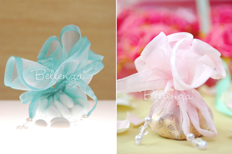 For a gender reveal baby shower, give guests blue and pink favor packaged treats.
