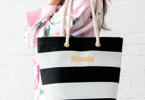 Personalized Striped Tote Bag for Bridesmaids