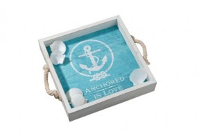 """Anchored in Love"" Wooden Wedding Tray"