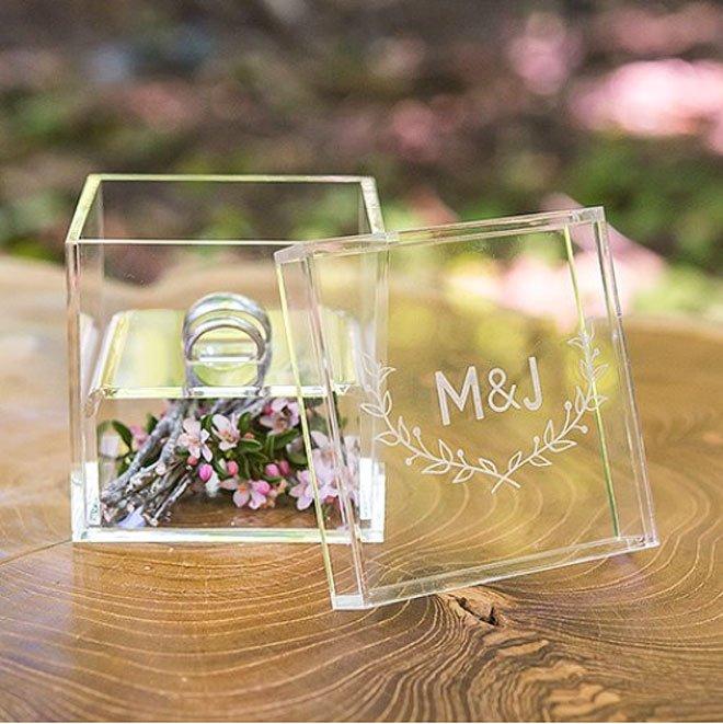 Acrylic Wedding Ring Box with Etched Woodland Motif via Weddingstar