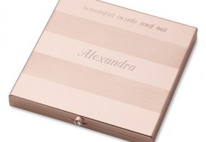 Rose Gold Mirror Compact with Stripes