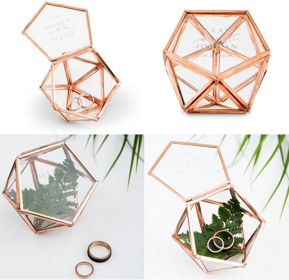 Small Geometric Terrarium-style Glass and Copper Ring Box via Weddingsta