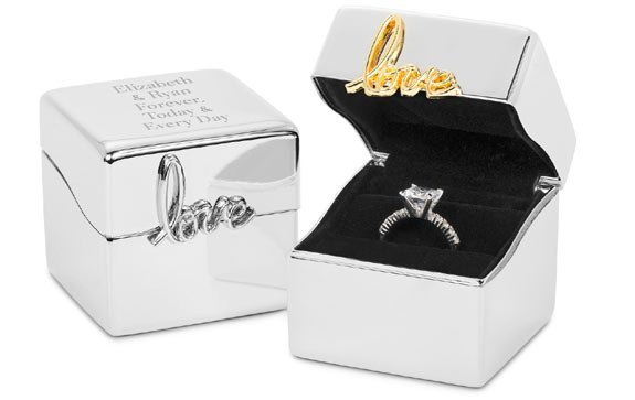"Silver Ring Box with ""Love Always"" Theme"