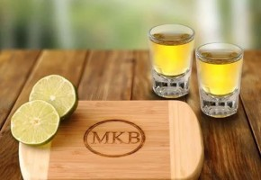 Bamboo Board and Shot Glass Gift Set