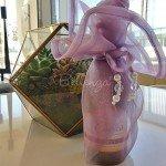 17″ Mini Wine Bottle Organza Wraps Zaarni Lilac (Set of 5)