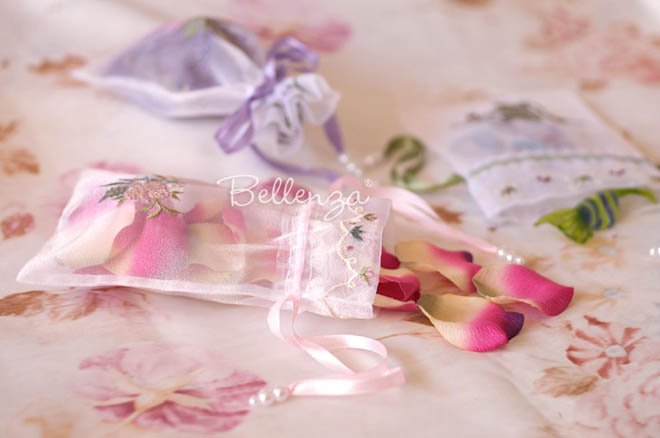 Embroidered organza gift bags for potpourri gifts