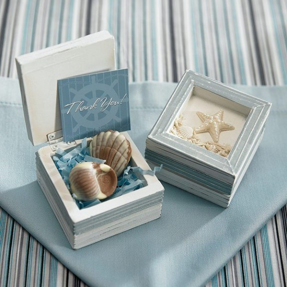 Wooden Seashell and Starfish Keepsake Box