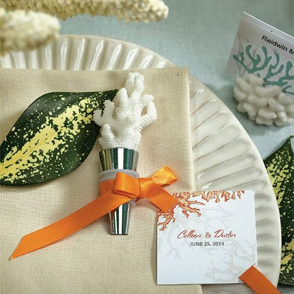 Coral Bottle Stopper Favors in a Gift Box