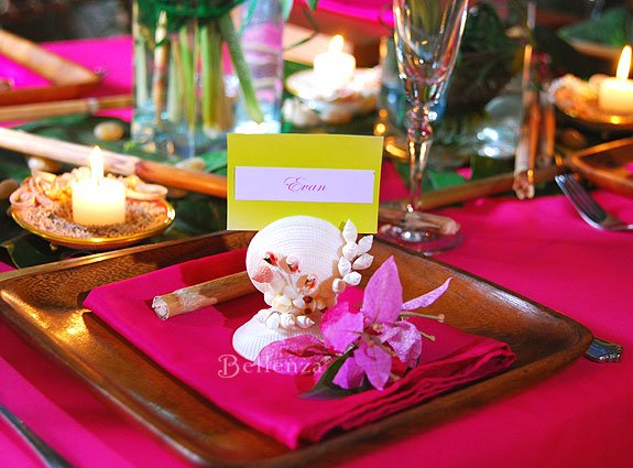 Shell escort card holder favors for beach theme party