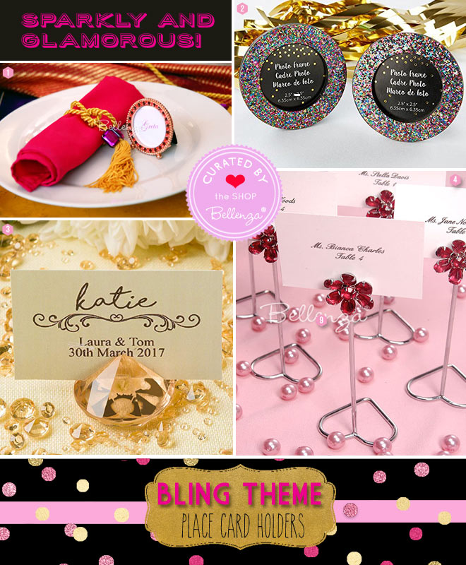 Bling party favors with sparkly crystal frames, rhinestone card holders, diamond card holders, and glittery round frames.