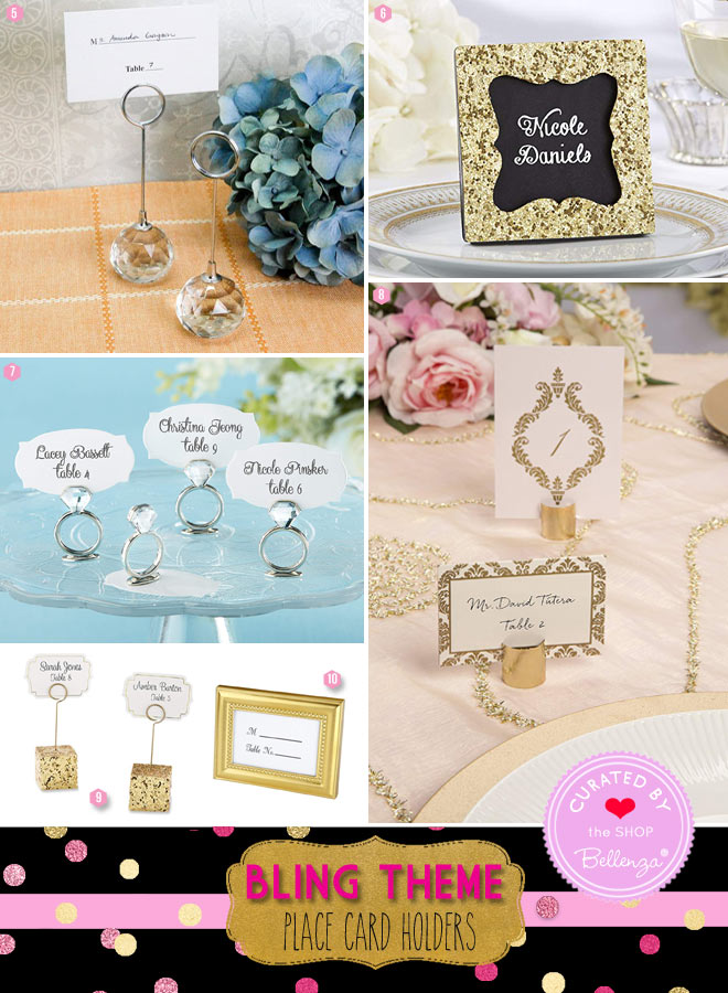 Bling reception favors with gold place frames to crystal ball card holders.