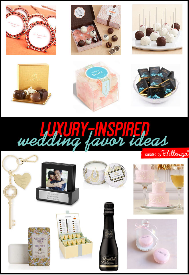 Luxury inspired favor ideas from crystal frames to wine to macarons