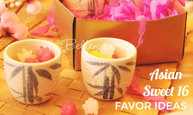 Sake cups with wagashi for sweet 16 favors