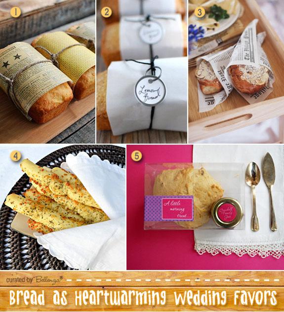 Baked bread wedding favors