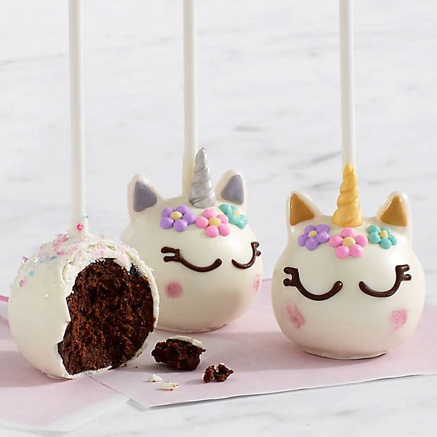 Unicorn brownie pops
