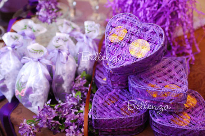 purple favor boxes