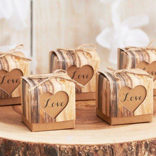 rustic birch favor boxes