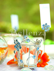 Jewelled votives as candle decor