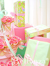Pink and green party decor