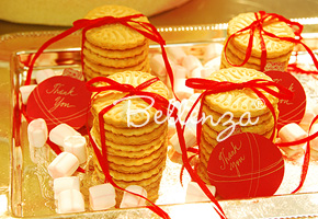 christmas cookies with red ribbons