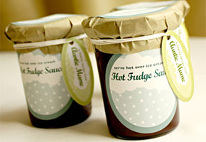 Chocolate fudge in a jar wtih tag