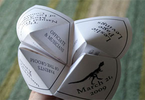 Cootie Catcher Wedding Program In White