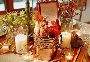 Fall Table Centerpieces with pumpkins and gourds