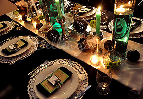 halloween table setting in black and green - Halloween Themed Wedding Reception