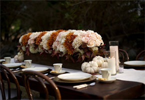 Outdoor autumn wedding table decorations