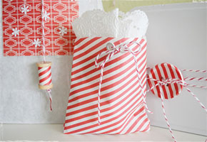 Red and white peppermint swirl treat bags