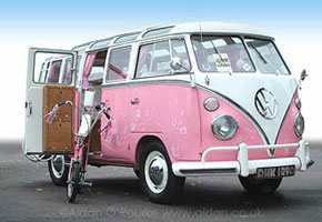 Pink VW Combi at Beach