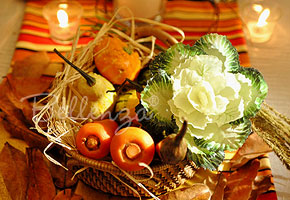 Squash, cabbage, carrots centerpiece in basket