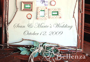 Welcome sign at fall wedding