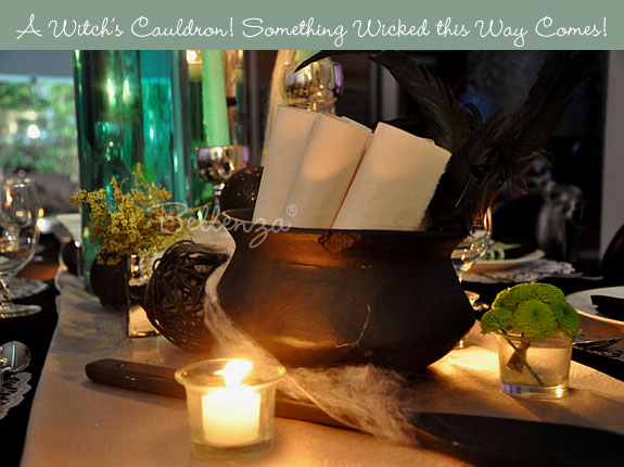 Witch's cauldron on Halloween table setting