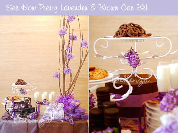 Brown dessert table for a lilac lavender theme