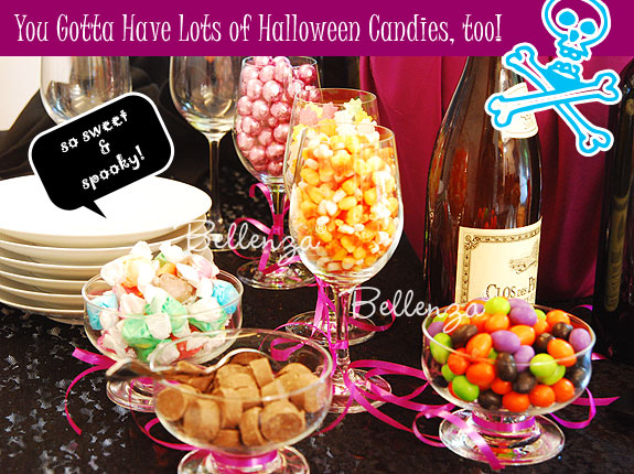 Candies for a Halloween candy table for adults