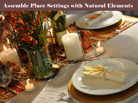 Country-style place setting for wedding