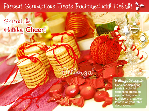 Cookies and sweets in festive ribbons