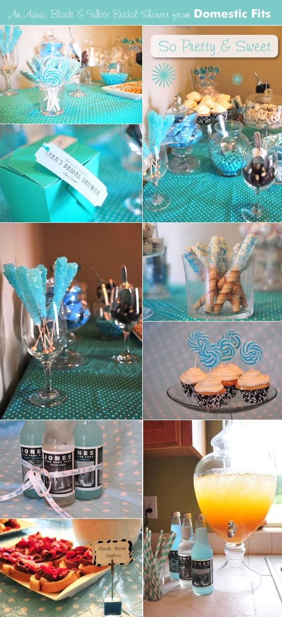 Aqua bridal shower food and candy table