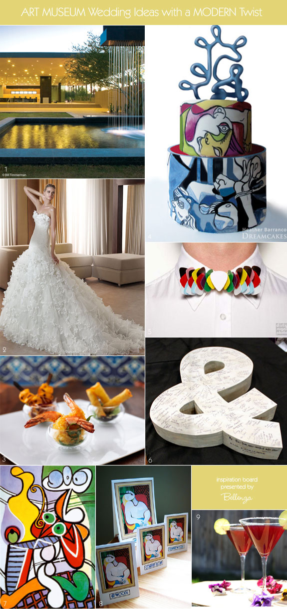 Art museum wedding ideas that are modern from the wedding cake to venue to wedding gown