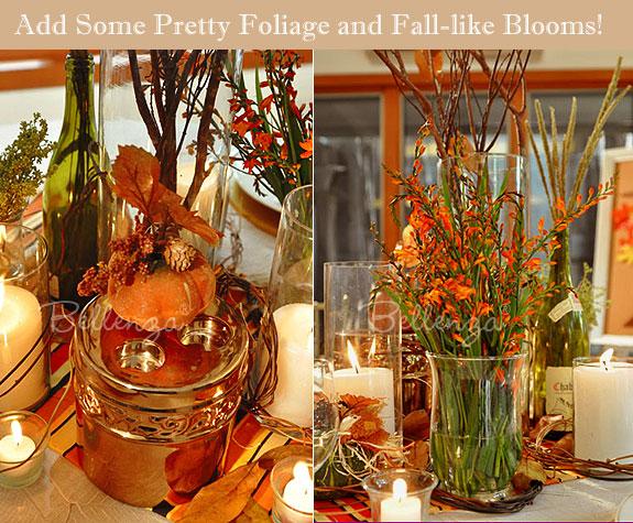 Mini pumpkin and orange flowers centerpiece