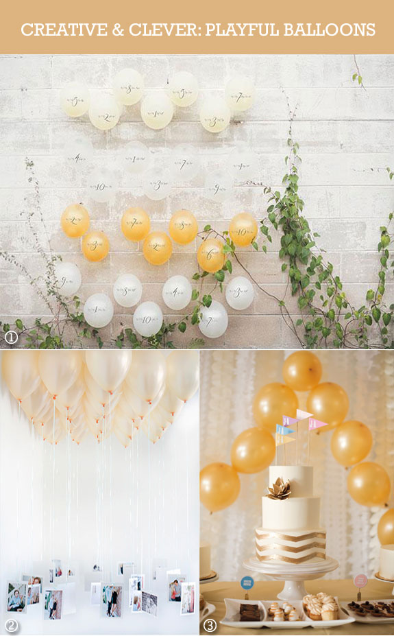 Yellow, white, and gold wedding balloons ideas
