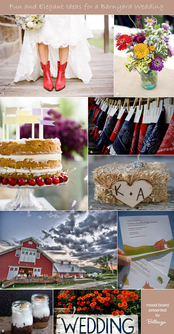 Inspiration board for barnyard wedding