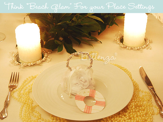 Beach-inspired place settings with pearl strands