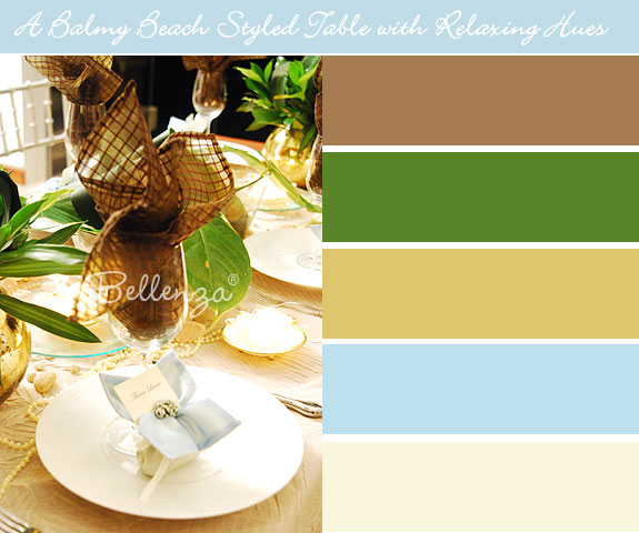 Ivory and green beach themed table