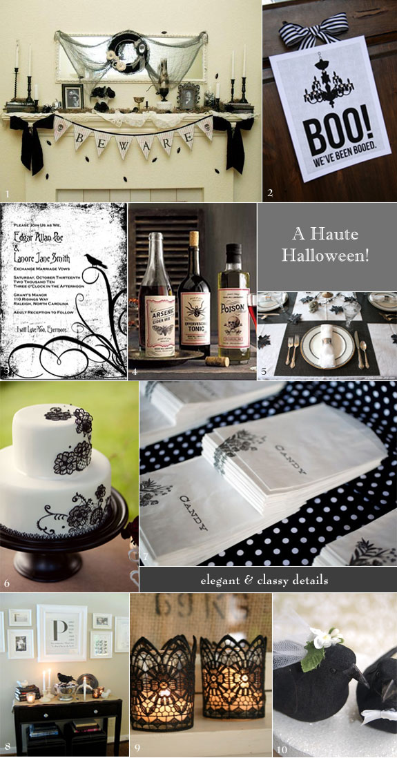 Inspiration board for vintage Halloween wedding