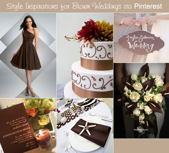 Brown wedding style via Pinterest with bouquets, wedding cake, and invitations