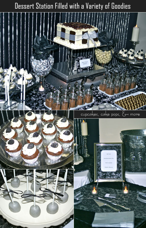 Dessert station filled with cake pops and more
