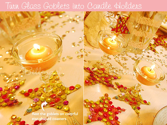 Floating candles in wine goblets