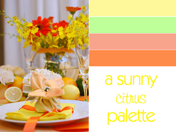 Citrus color palette in lemon, lime, and orange